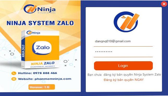 Đăng nhập vào phần mềm Ninja System Zalo