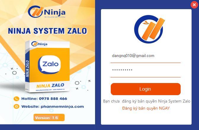 Đăng nhập vào tool nuôi nick zalo- Ninja System Zalo