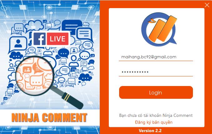 đăng nhập phần mềm check comment facebook